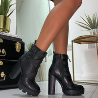 Black Platform Ankle Boots Hot Booties G9520 - Thumbnail 2