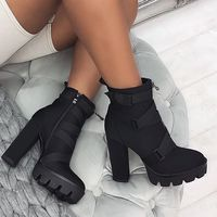 Black Platform Ankle Boots Hot Booties G9520 - Thumbnail 3