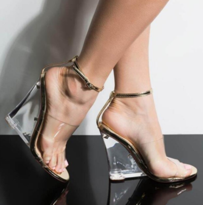 New women's European And American Sexy Transparent Crystal Wedge Heel Women's High Heeled Hollow Fashion Sandals F9852