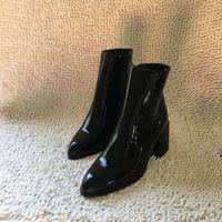 Winter New Patent Leather Boots Martin Boots High-heeled Knight Boots Black G6751 - Thumbnail 4