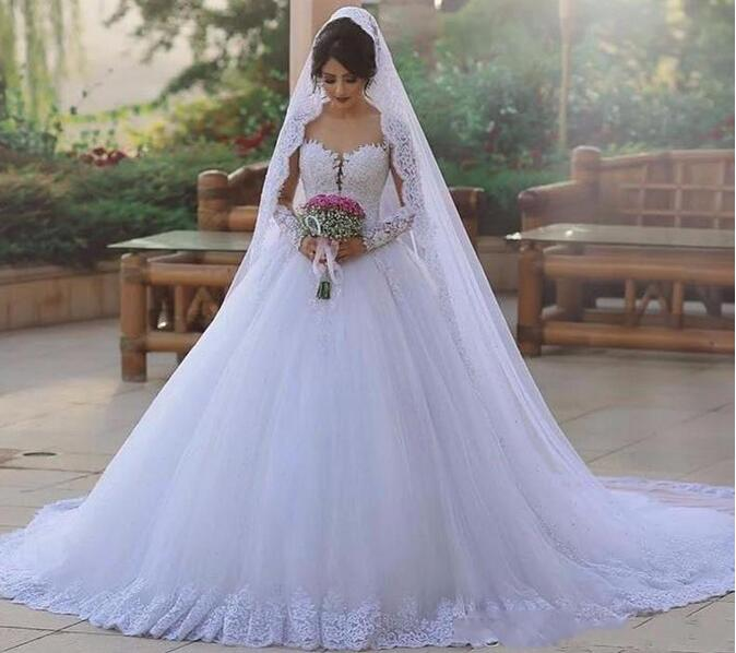 Luxury Princess Ball Gown Wedding Dresses Sheer Illusion Neck Long Sleeves Chapel Train Lace Wedding Bride Dresses Robe De Mariee Loverlovebridal Online Store Powered By Storenvy