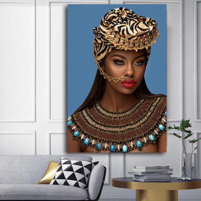 African Woman Portrait Nude Wall Art Print No.AW- 030000