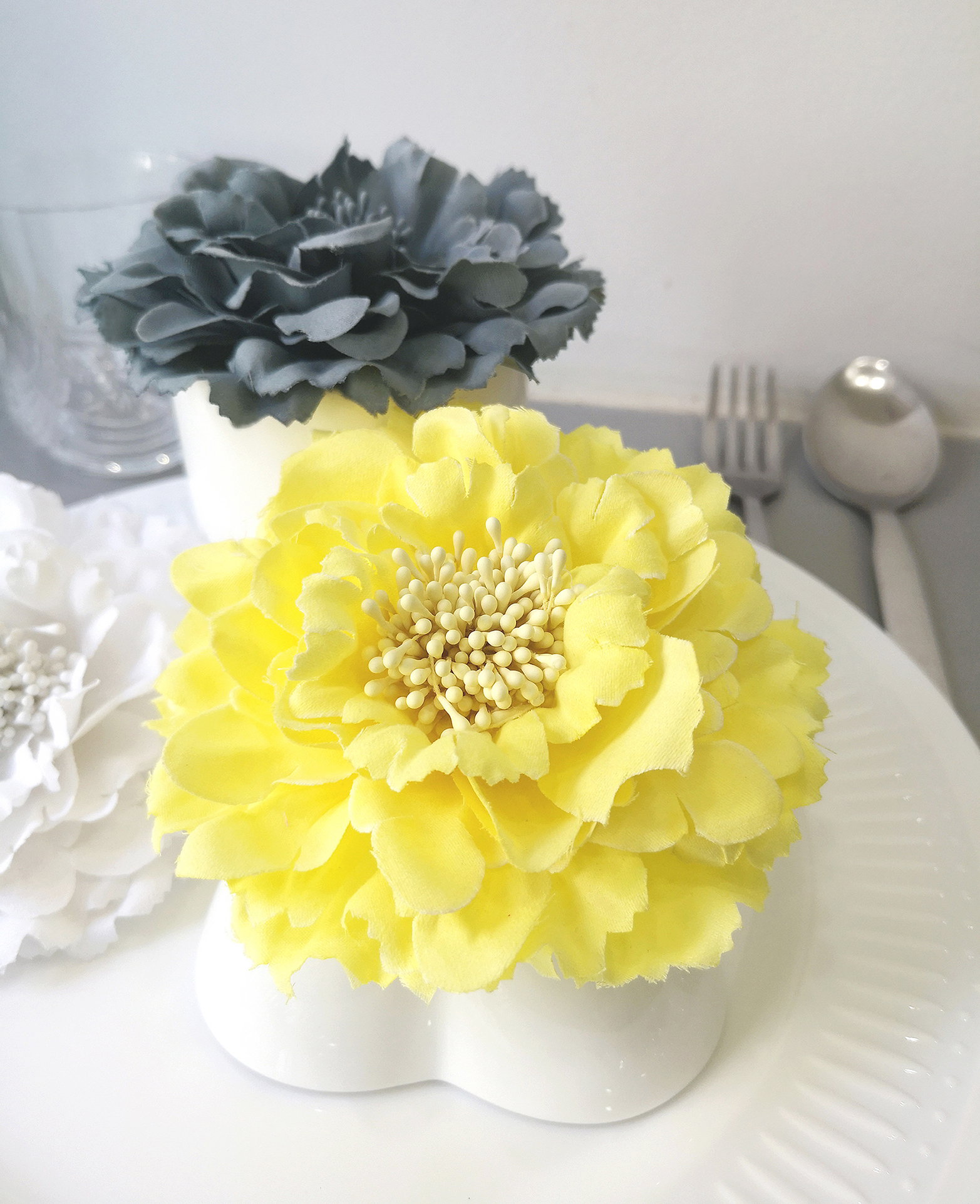 6 Pcs Large Romantic Yellow And Grey Peony Flower Napkin Rings Artificial Floral Napkin Holders Bridal Shower Decor Tea Party Decoration Sold By Ownwonderland On Storenvy