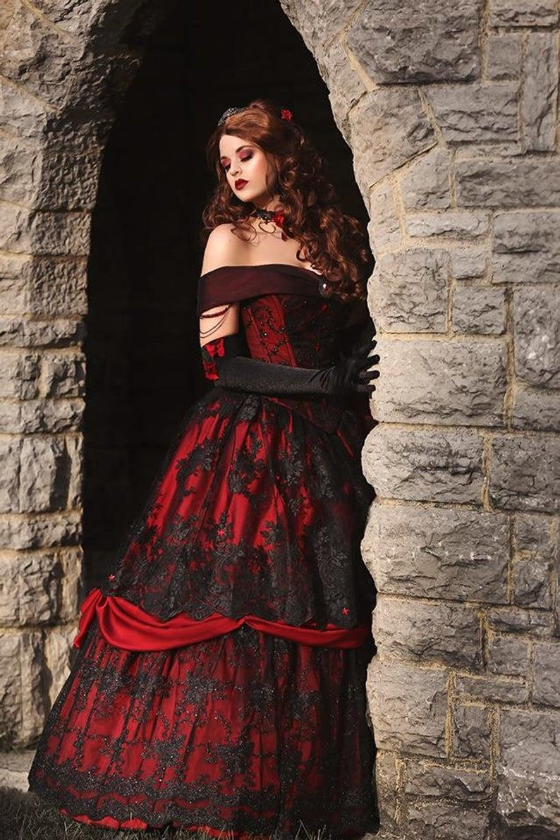 Buy red and black lace wedding dress cheap online