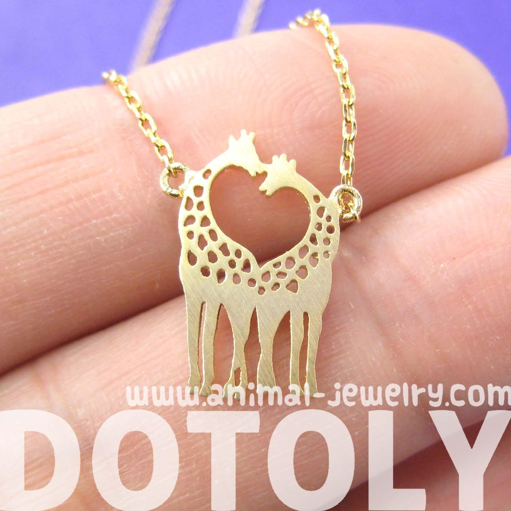 Giraffe Charm Bracelet: Giraffe Kissing Silhouette Shaped Charm