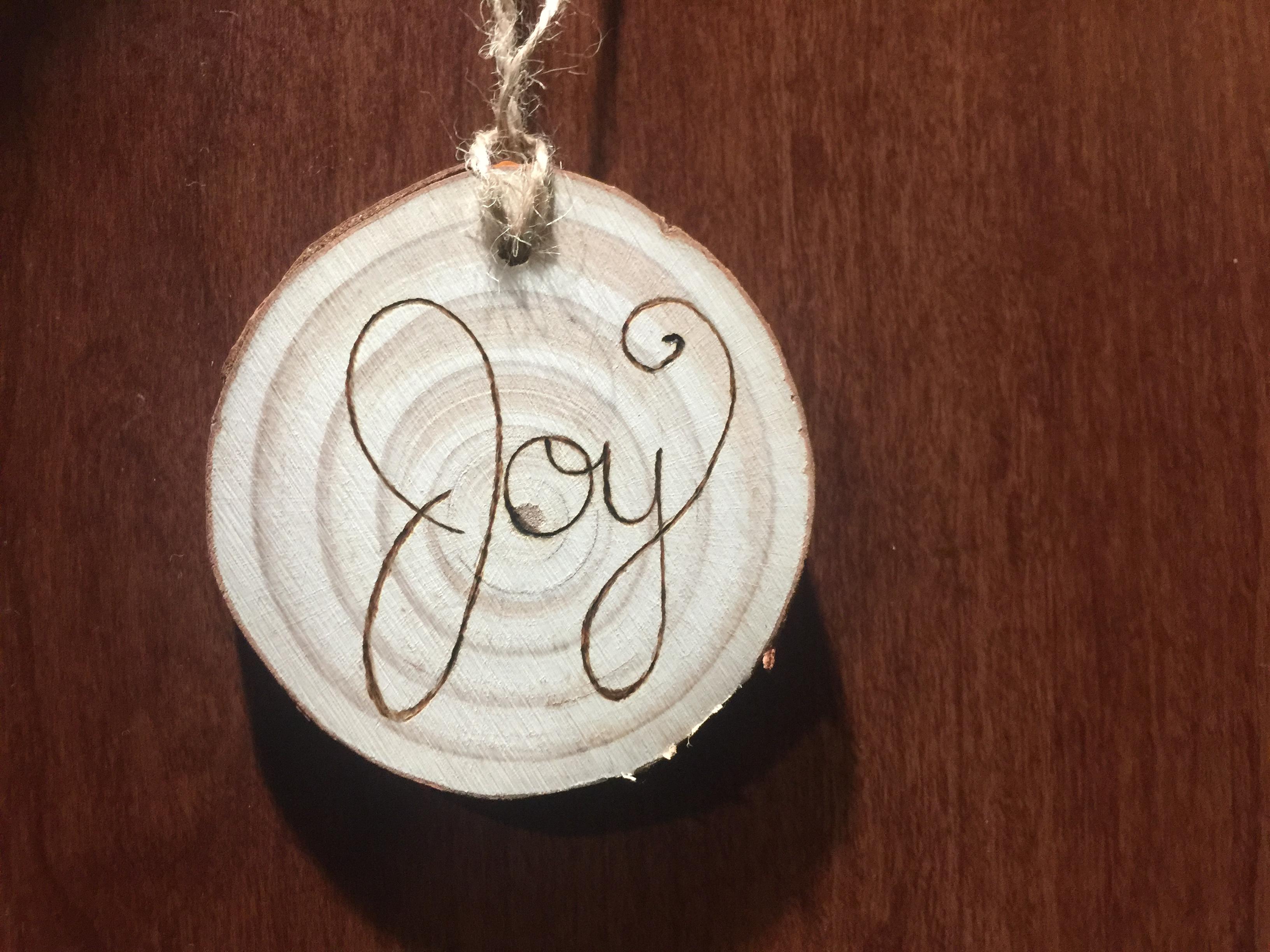 Wooden Joy Ornament