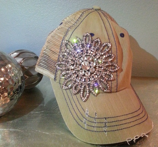 Envy Destructed Khaki Flower Rhinestone Bling Trucker Hat