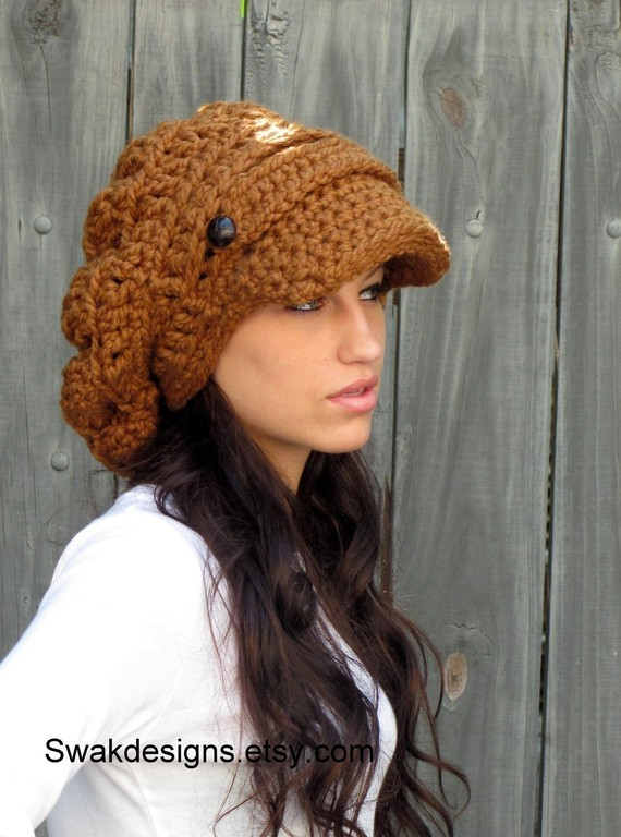 Swakcouture Slouchy Hat Womens Hat Two Button Band Newsboy Cap