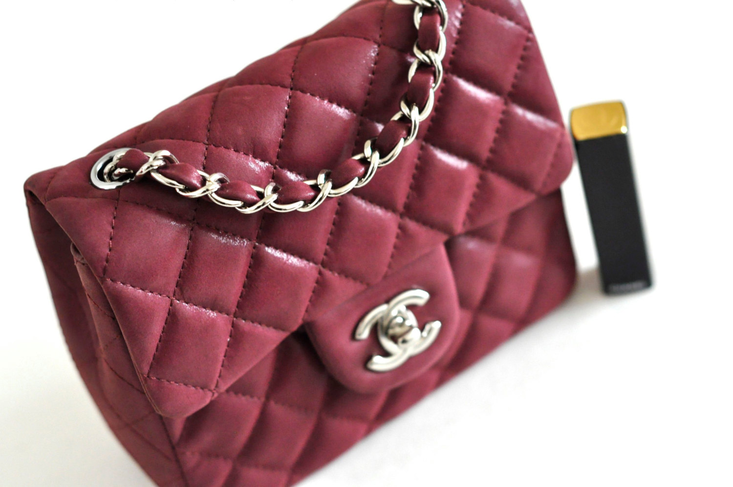 f2fdf457ebd1 ... Thumbnail 2 · Chanel Burgundy Mini Purse Red Quilted Leather Baby mini  Flap Gold Chain Purse - Thumbnail 3 ...