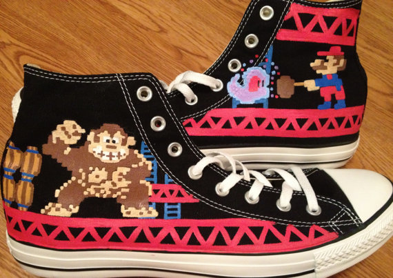 50f6b9e73cf3 Donkey Kong Hand Painted Converse Shoes on Storenvy