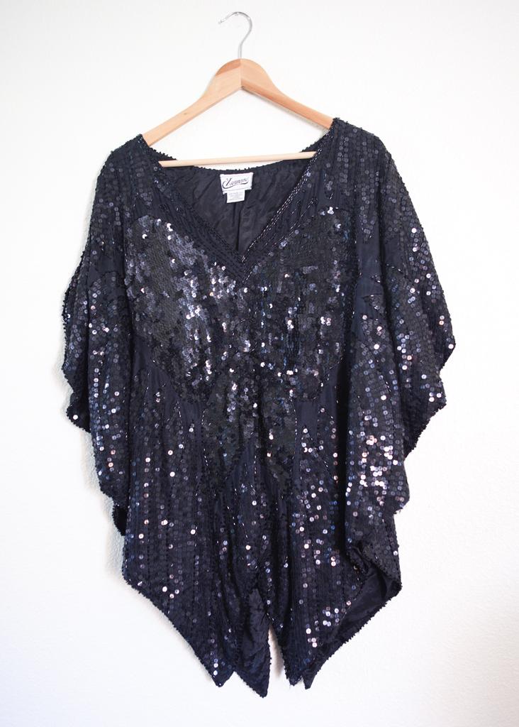 274dbb0adb0 Plus size vintage Black sequin batwing beaded blouse 3x 4x on Storenvy